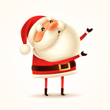 Santa Claus Greets. Isolated.