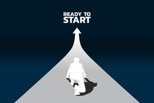 Silhouette Of Businessman Ready To Run From Start Line On Growing Graph. Concept Of People Ready To Start Career And Business