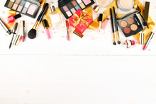 Set Of Professional Decorative Cosmetics Items, Makeup Tools And Accessories On Grunged Concrete Backgground. Beauty & Fashion Present For Christmas Concept. Flat Lay Composition, Top View, Copy Space