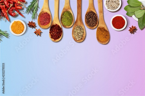 Canvas Prints Spices Various colorful spices on wooden table