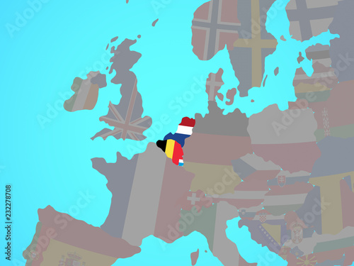 Benelux Union with national flags on blue political globe. Canvas Print