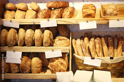 Recess Fitting Bread Fresh bread on shelves in a bakery cafe