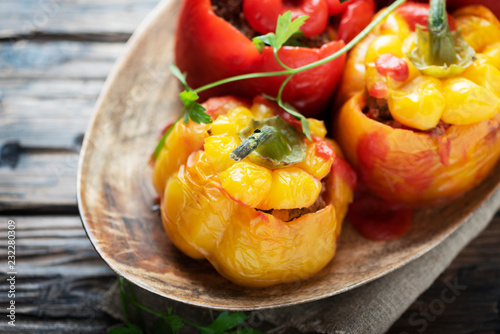 Fototapeta stuffed peppers with meat obraz