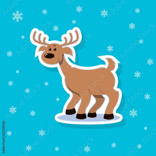 Deurstickers Babykamer Color sticker illustration of a flat art cartoon cheerful deer