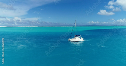 Tablou Canvas catamaran in aerial view, french polynesia