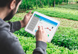 canvas print picture - Hand holding Tablet Monitoring Smart farming system in Greenhouse, Agriculture technology revolution, AI automatic, Conceptual