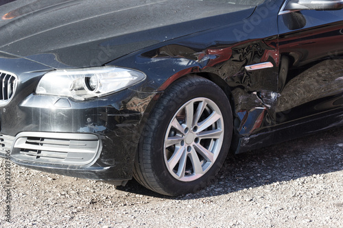 Photo crumpled side of the car after the accident, bodywork is required