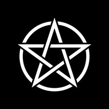Pentacle Magic Sign. Black Bac...
