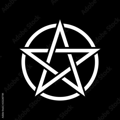 Photo  Pentacle magic sign. Black background