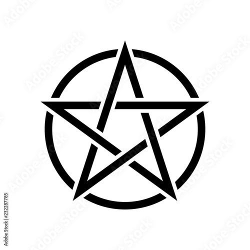 Photo Pentacle magic sign. White background