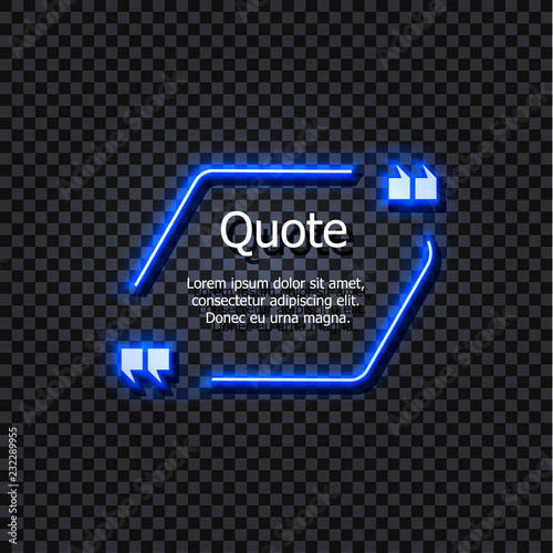 Fotografía  Vector Glowing Text Frame, Quotation Box, Shining Light Blue Element Isolated