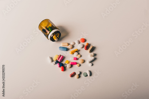 Multicolored isolated pills and capsules