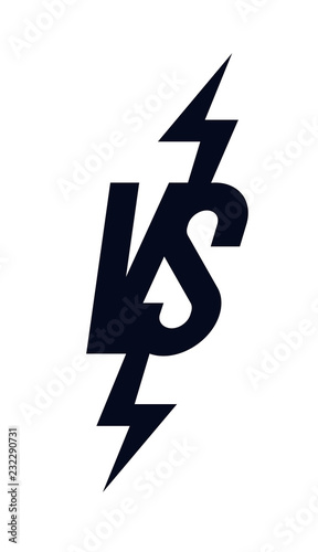 Versus Sign Modern Style Black Color Isolated On Transparent