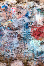 Old Abstract Red Blue Multi Coloured Painted Brick Wall Background