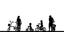 Silhouette Family  Riding Bicycle On White Background