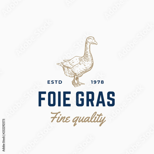Fotografie, Tablou Goose Pate Foie Gras Abstract Vector Sign, Symbol or Logo Template