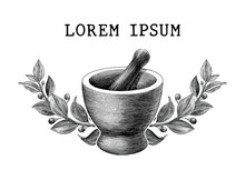 Mortar And Pestle With Herbs F...