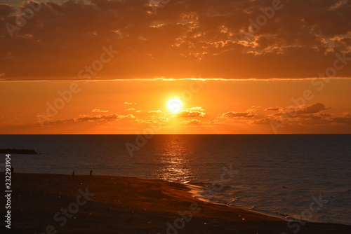 Photo sunset at kanazawa coast