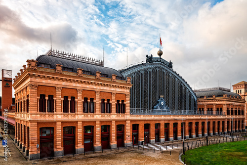 Atocha Railway Station of Madrid at sunrise