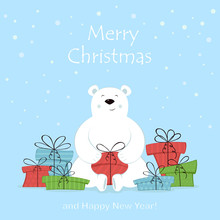 Polar Bear With Christmas Gifts