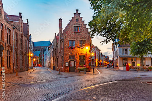 Poster Centraal Europa Scenic cityscape with a medieval fairytale town at night in Bruges, Belgium
