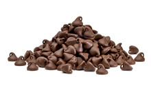 Chocolate Chips Morsels Or Chocolate Drops Pile Side View Isolated On White Background