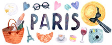 Watercolor Paris Set. Hand Drawn Elements Of French Culture Isolated On White Background: Camembert, Basket With Baguette And Wine, Letters, Macaroon, Croissant, Eiffel Tower, Hat, Camera, Wine, Bow.