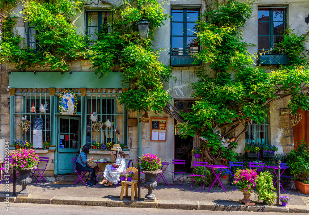 Fototapeta Cozy street with flowers and tables of cafe  in Paris, France