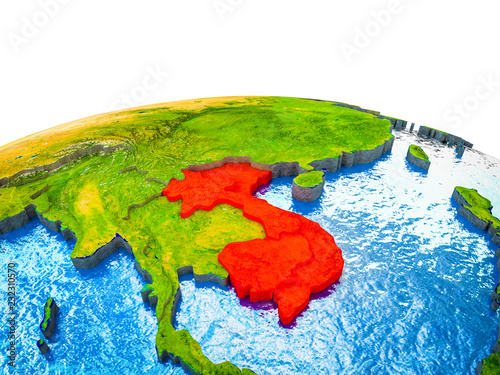 Foto  Indochina on 3D Earth with visible countries and blue oceans with waves