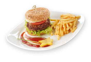 FototapetaHamburger z frytkami