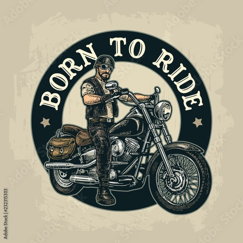 Biker riding a motorcycle. Vector engraved illustration Canvas Print