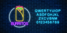 Neon Glowing Sign Of Burrito In Circle Frame With Alphabet. Fastfood Light Billboard Symbol.