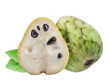 Collection Of Cherimoyas Isolated On White Background With Shadow. Clipping Path.
