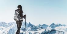 Athletic Woman Trekking In A W...