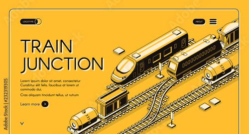 Train junction, transport node isometric vector web banner