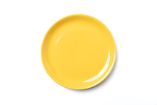 Pastel Yellow Plate Isolated On White Background