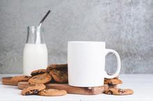 11oz White Mug Mock Up With Milk And Cookies