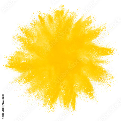 Yellow powder explosion on white background. Wall mural