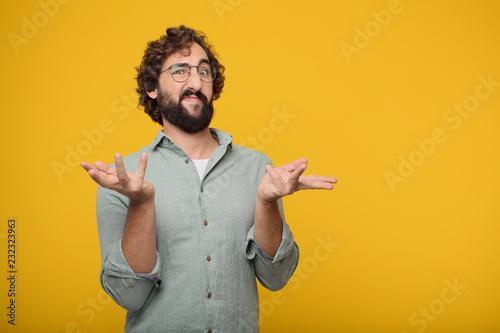 Fotografía  young bearded businessman expressing a concept