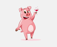 Happy Pig Toasting With Wine Vector Illustration. New Year Symbol, Party, Advertising. Holiday Concept. Vector Illustration Can Be Used For Topics Like Celebration, Cartoons, Drinks