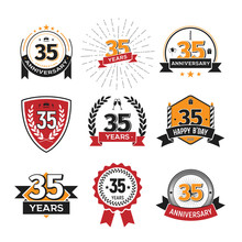 Collection Of Retro 35 Th Years Anniversary Logo. Set Of Isolated Vintage Icons Of Thirty-five Years Celebrating Vector Illustration