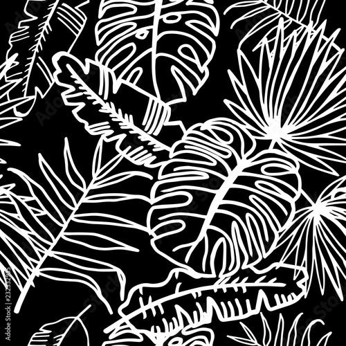 Foto op Canvas Bloemen zwart wit seamless floral pattern tropical palm leaves