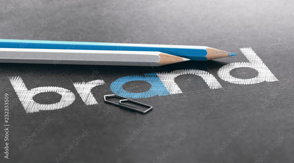 Fototapeta Marketing Strategy Concept, Company Brand Building and Logo Design