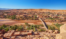 Aerial View On Kasbah Ait Ben Haddou And Desert Near Atlas Mountains Near Kasbah Ait Ben Haddou