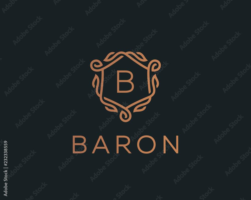 Fototapeta Premium linear shield monogram letter B logotype. Elegant crest leaf stamp icon vector logo. Luxury alphabet frame symbol.