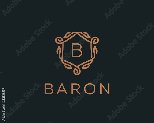 Obraz na plátne Premium linear shield monogram letter B logotype