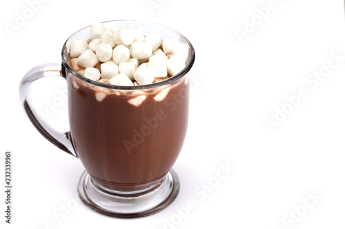 Mug of Hot Chocolate Isolated on a White Background