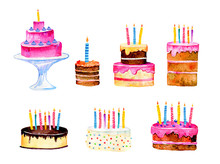 Set Of Stylized Birthday Cakes...