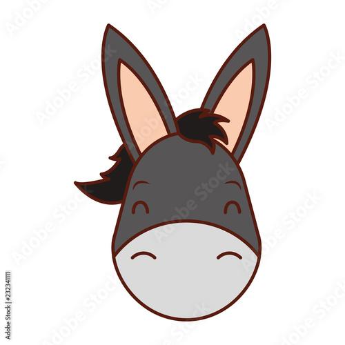 Fotomural cute head donkey cartoon animal wild