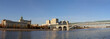 View of the Pushkinsky (Andreevsky) Bridge and the Moskva River (panorama). Moscow, Russia